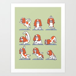 Cavalier King Charles Spaniel Yoga Art Print