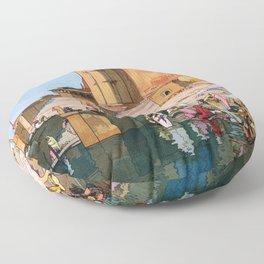 Yoshida Hiroshi - The Ghat At Varanasi - Digital Remastered Edition Floor Pillow