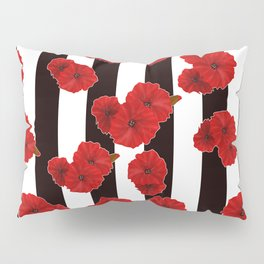Red poppies on a black and white striped background. Pillow Sham