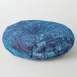 Washington West Columbia year 1945 old blue map Floor Pillow