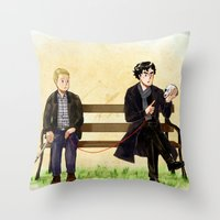 johnlock Throw Pillows featuring Red String of Fate by Krusca