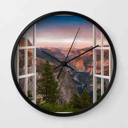 Hills through the window 2 Wall Clock
