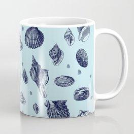 Sea shells pattern in blues Coffee Mug