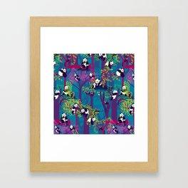 Both Species of Panda - Blue Framed Art Print