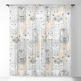 Owls Being Owls Sheer Curtain