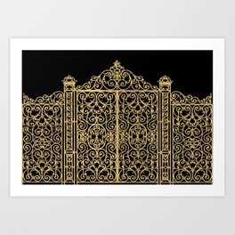 French Wrought Iron Gate | Louis XV Style | Ornate Ironwork | Black and Gold | Art Print