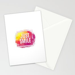 Just Smile motivation square watercolor stroke poster. Text lettering of an inspirational saying. Qu Stationery Cards
