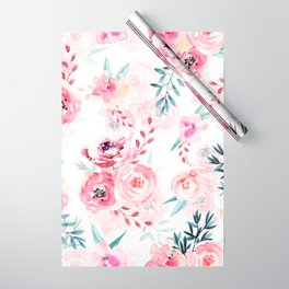 Pink Watercolor Florals I Wrapping Paper