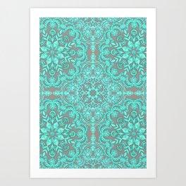 Mint Green & Grey Folk Art Pattern Art Print