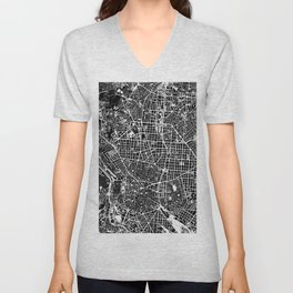 Madrid city map black&white Unisex V-Neck