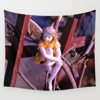fairies Wall Tapestries featuring i believe in fairies by Lisa Carpenter