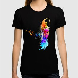 Ballet dancer dancing with flying birds T-shirt
