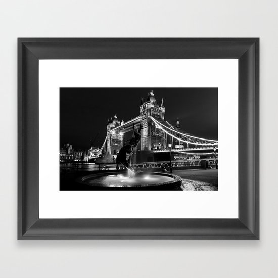 Tower Bridge And the Girl and dolphin Statue Framed Art Print