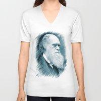 darwin V-neck T-shirts featuring Charles Darwin by Zandonai