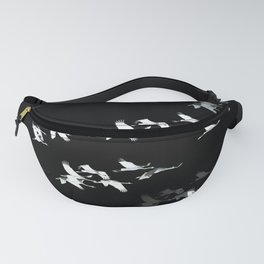 Abstract Black and White Crane Flock #decor #society6 Fanny Pack