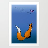 Fox and Butterfly Art Print