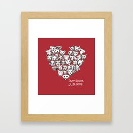 Just Love. (white text) Framed Art Print