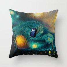 Starry Night Tardis Art Painting Throw Pillow