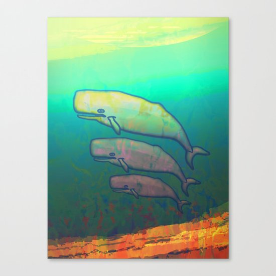 Whales Swimming Together Canvas Print