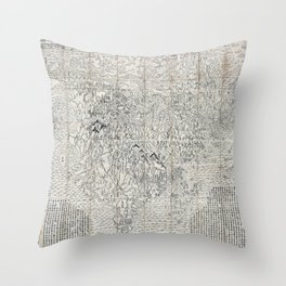 First Japanese Buddhist World Map showing Europe, America and Africa - print from 1710 Throw Pillow