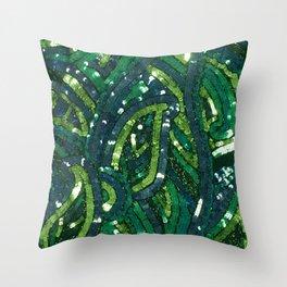 Green Paisley Sequin Pattern Throw Pillow