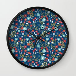 Floral pattern on blue background. Flower meadow. Wall Clock