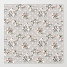 Vintage chic artistic pink ivory polka dots floral Canvas Print