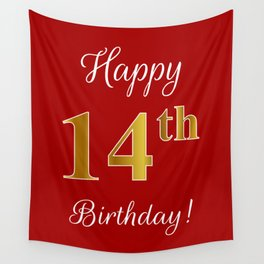"""Elegant """"Happy 14th Birthday!"""" With Faux/Imitation Gold-Inspired Color Pattern Number (on Red) Wall Tapestry"""