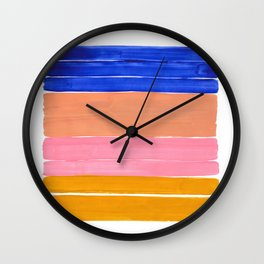Blue Pink Yellow Tan Colorful Rothko Minimalist Mid Century Modern Color Fields Stripes by Ejaaz Haniff Wall Clock