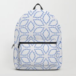 White and Blue Minimualist Pattern Backpack