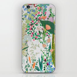 Painterly Floral Jungle on Pink and White iPhone Skin