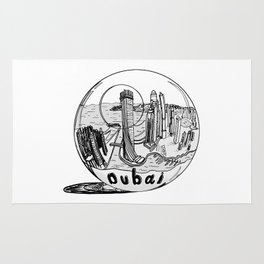Dubai in a glass bowl . illustration Rug