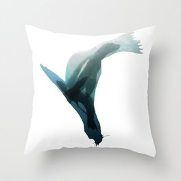 Galapagos sea lions triple exposure Throw Pillow