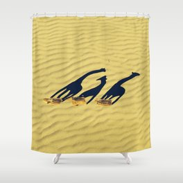 Extended long giraffes' shadows Shower Curtain