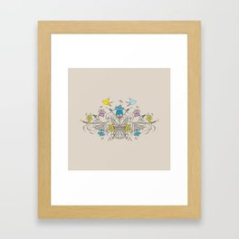 Shabby Chic vintage lily flowers bouquet and birds 1 Framed Art Print