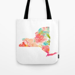 new york map floral state print nyc ny state Tote Bag