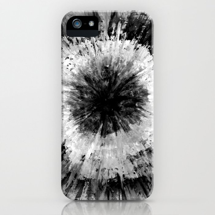 Black and White Tie Dye // Painted // Multi Media iPhone Case