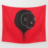 hot air balloon Wall Tapestries featuring Hot Air Balloon Skull by Fupete Art