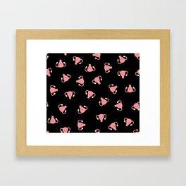 Crazy Happy Uterus in Black, Large Framed Art Print