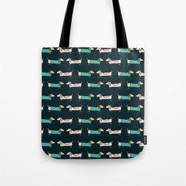 Cute dachshunds in dark blue Tote Bag