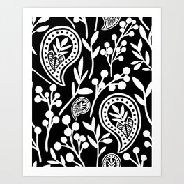 Black and White Floral Paisley Art Print