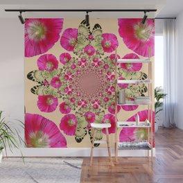 modern art cerise pink hollyhock & yellow butterflies Wall Mural