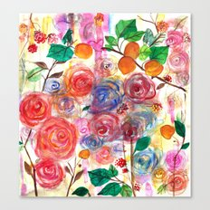 Abstract Watercolour Floral + Fruit Painting  Canvas Print