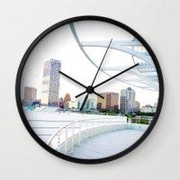 milwaukee Wall Clocks featuring Milwaukee by Andrea Coan
