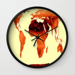 World Map Earth Tones Wall Clock