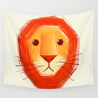 lion Wall Tapestries featuring Sad lion by Lime
