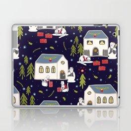 Christmas Cats Village Festive Seamless Vector Pattern, Drawn Present Boxes Laptop & iPad Skin