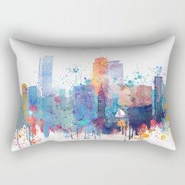 Miami watercolor skyline design Rectangular Pillow