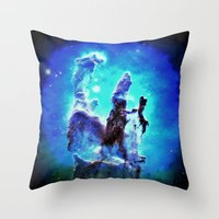 nebula Throw Pillows featuring Blue Pillars of Creation nEBULA  by 2sweet4words Designs