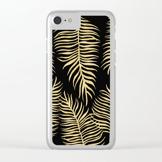 Fern Pattern Gold On Black Background Clear iPhone Case